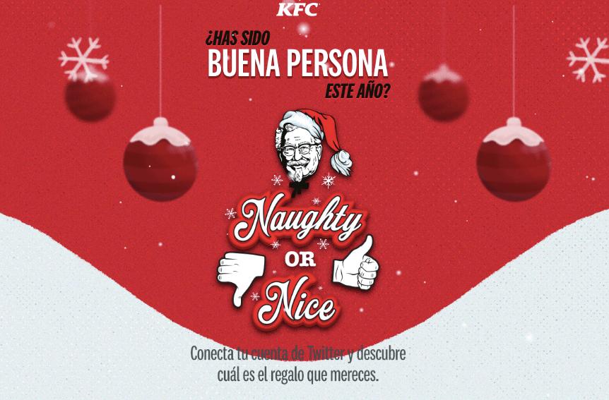 KFC twitter naughty or nice app