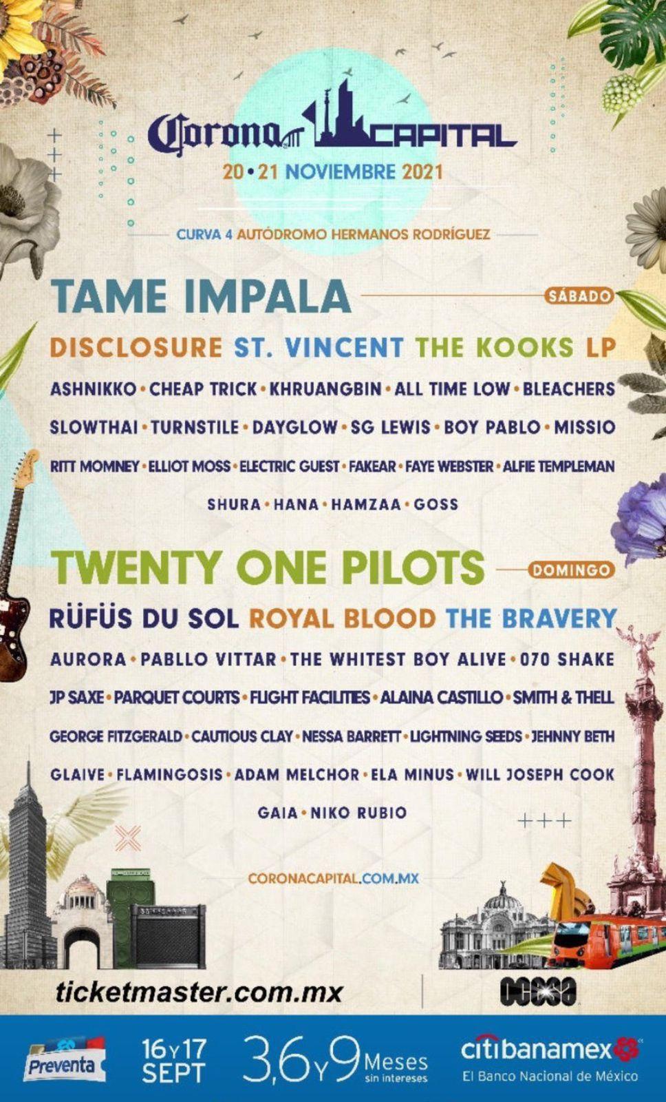 Tame Impala, Twenty One Pilots y St. Vincent en el cartel del Corona Capital 2021